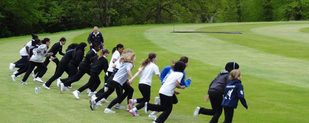 Kids starting a running race